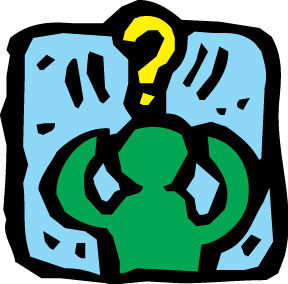 A cartoon of a person looking stressed with a question mark over the head.