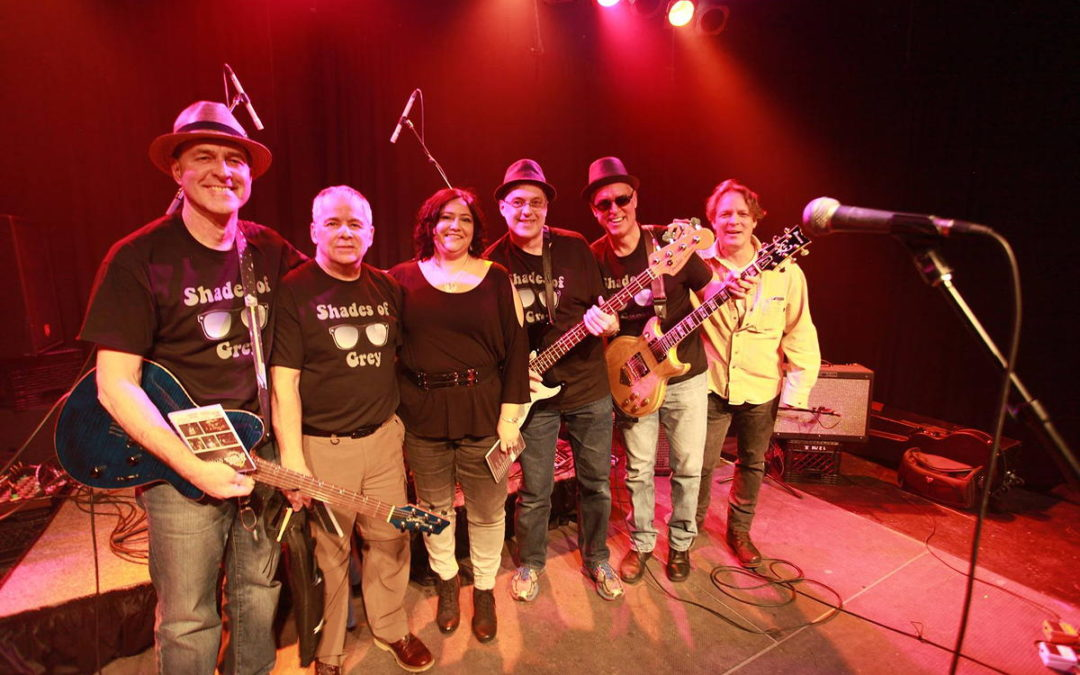 The Shades of Grey with Terry Moshenberg, head of League of Rock, after finishing their set at Greenfield Pub on December 15th, 2016. From left to right, Marc Dumais, Ted Farant, Karen Quesnel, Scott Darlington, Rick Martin, and Terry Moshenberg.