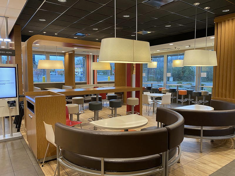 With the dining room closed to customers due to COVID-19, the the dining room sparkled at this McDonald's restaurant in Middletown, Virginia.