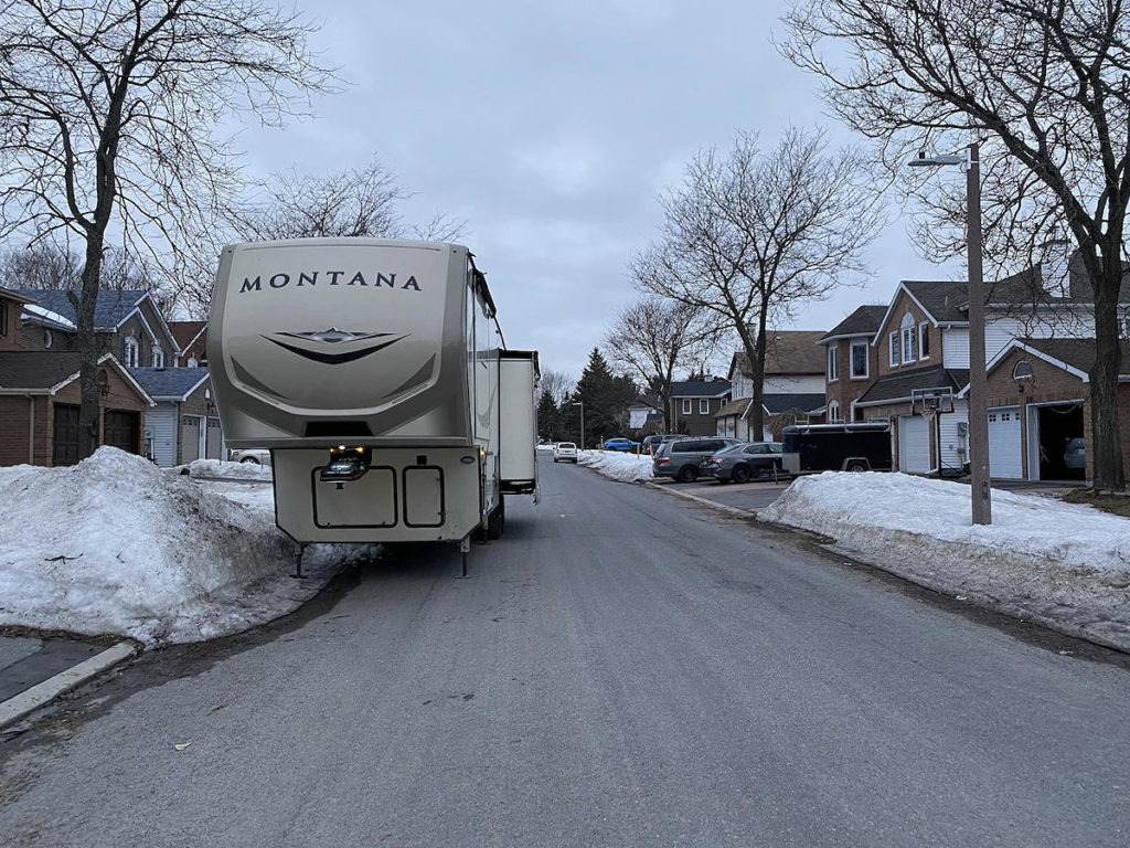 We put the trailer as close to the curb as we could get. It' still a foot further out than usual.