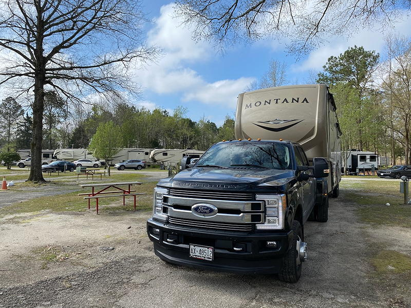 A view of our rig and the Lmberton / I-95 KOA campground.