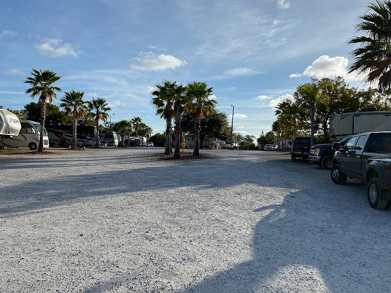 This wide-angle view to the east shows the two entrances and exits for the Fort Pierce Downtown KOA campground. The one on the left has access from the other side of the highway.