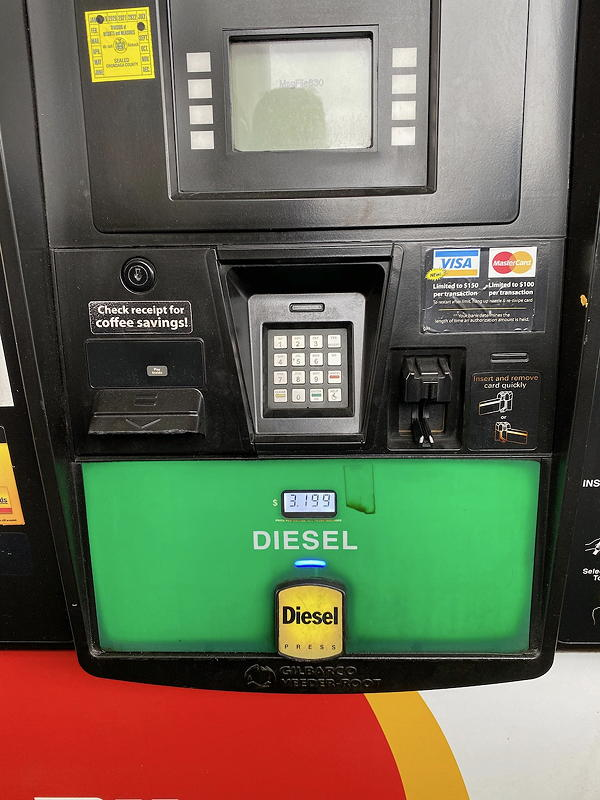 This pump at the Pilot Travel Center in Liverpool, New York, show the price of the diesel fuel--the most expensive of the trip.