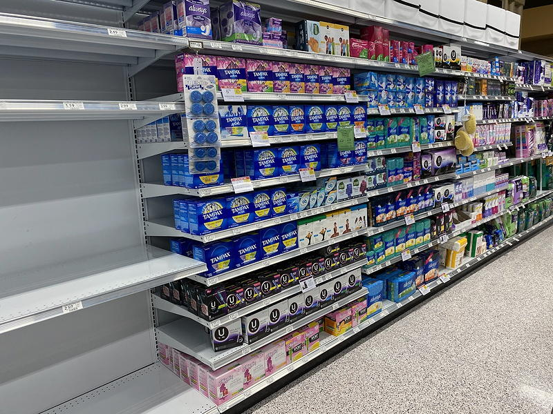 Oddly enough, though toilet paper seemed to see tremendous demand due to COVID-19, nobody seems to be worried about the consequences of running out of feminine hygiene products.