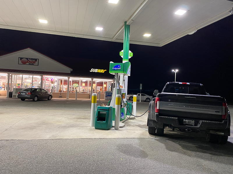 There's a BP station just a few minutes away from the Enfield KOA campground. A great place to top up the tank with diesel.