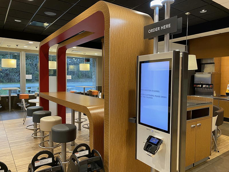 Perhaps it's because of the large corporate backbone behind each McDonald's Restaurant, but they sure were taking COVID-19 seriously. The dining room was closed and so were the kiosks that so many people touch.
