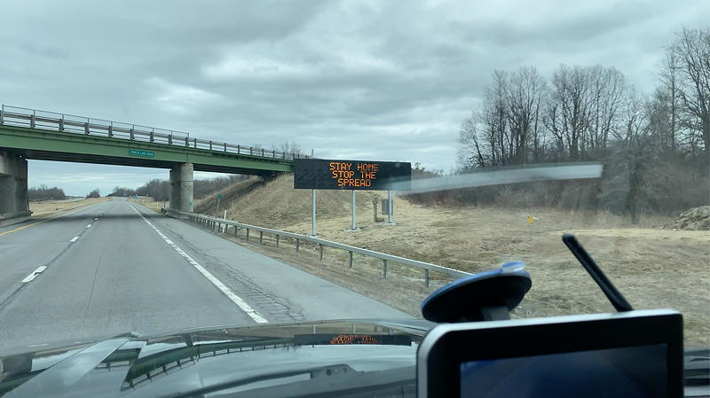We saw dozens of signs, some large like this one, and more smaller ones in New York state. All advised people to stay home to stop the spread of COVID-19.