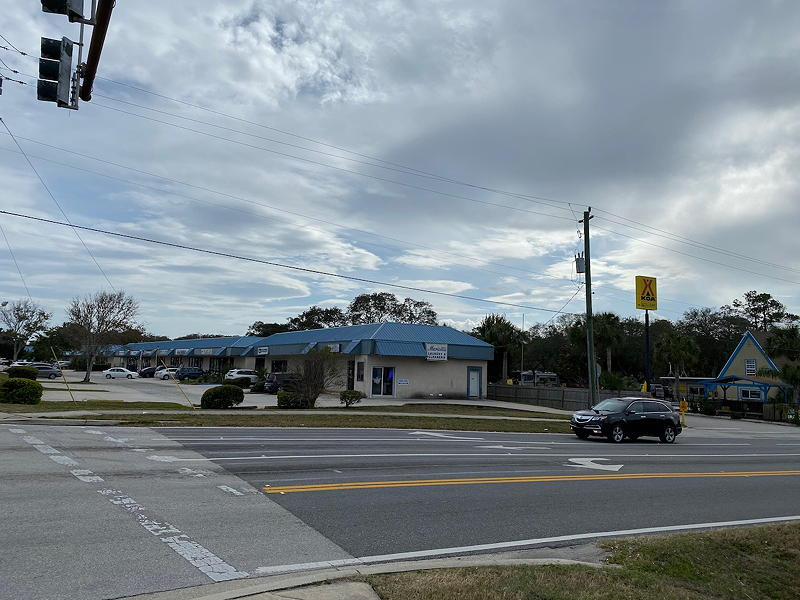 The entrance to the St. Augustine Beach KOA campground is at the corner of Pope Street, seen here, and the Route A1A highway.