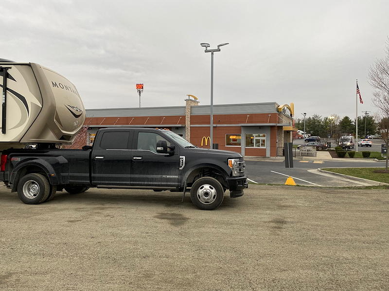 In this view from the other side of the truck, you can see the McDonald's restaurant. We're parked between it and the Econolodge in Middletown, Virginia.