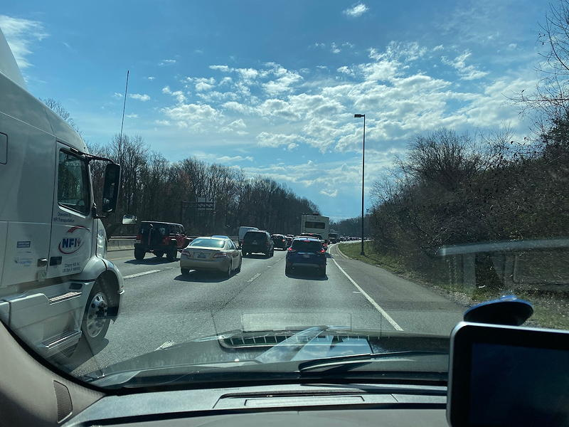 We lost about a half hour to this traffic jam in Bethesda, Maryland. A truck had lost part of its load and blocked two of the four lanes of the highway.