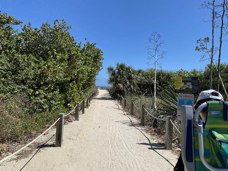 This is one of several pleasant walkways to the beach in Fort Pierce.