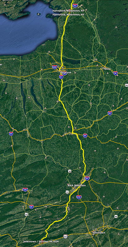This is our route from the Hannaford grocery store in Watertown, New York, to the Jonestown / Hershey NE KOA campground.