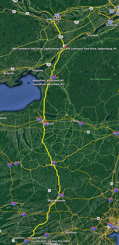 This is our route from home to the Jonestown / Hershey NE KOA campground in Jonestown, Pennsylvania.