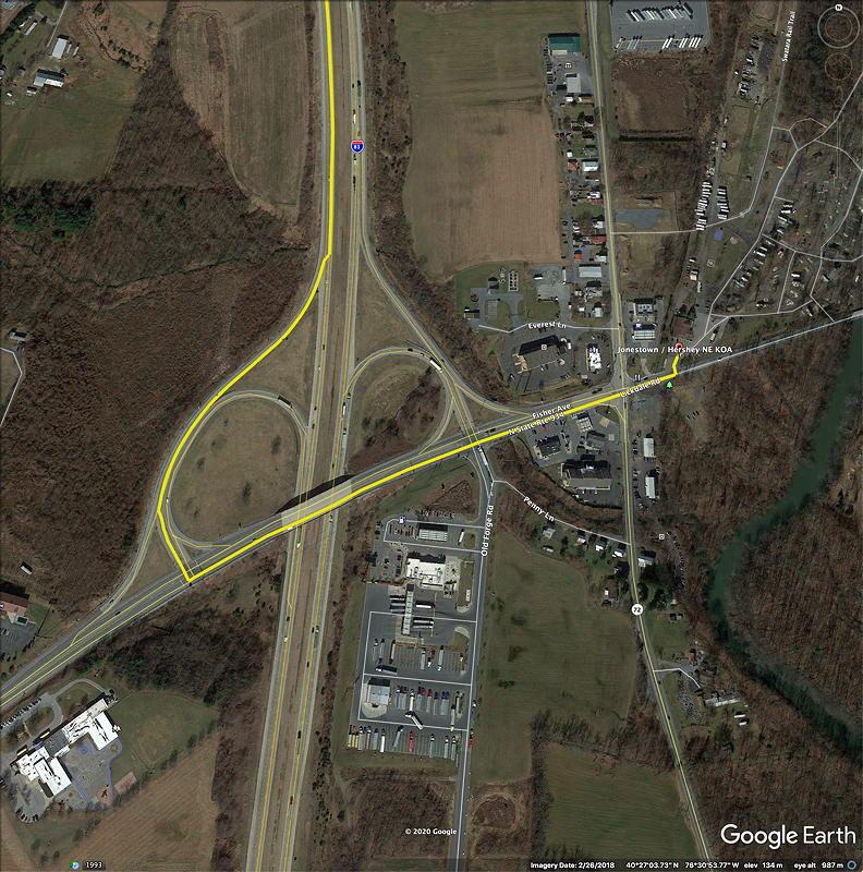 This is the I-81 interchange to access the Jonestown / Hershey NE KOA campground. The campground is in the upper right of this picture.